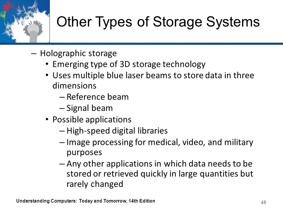 Other Types of Storage Systems – Holographic storage Emerging type of 3D storage technology Uses multiple blue laser beams to store data in three dimensions – Reference beam – Signal beam Possible applications – High-speed digital libraries – Image processing for medical, video, and military purposes – Any other applications in which data needs to be stored or retrieved quickly in large quantities but rarely changed Understanding Computers: Today and Tomorrow, 14th Edition 48