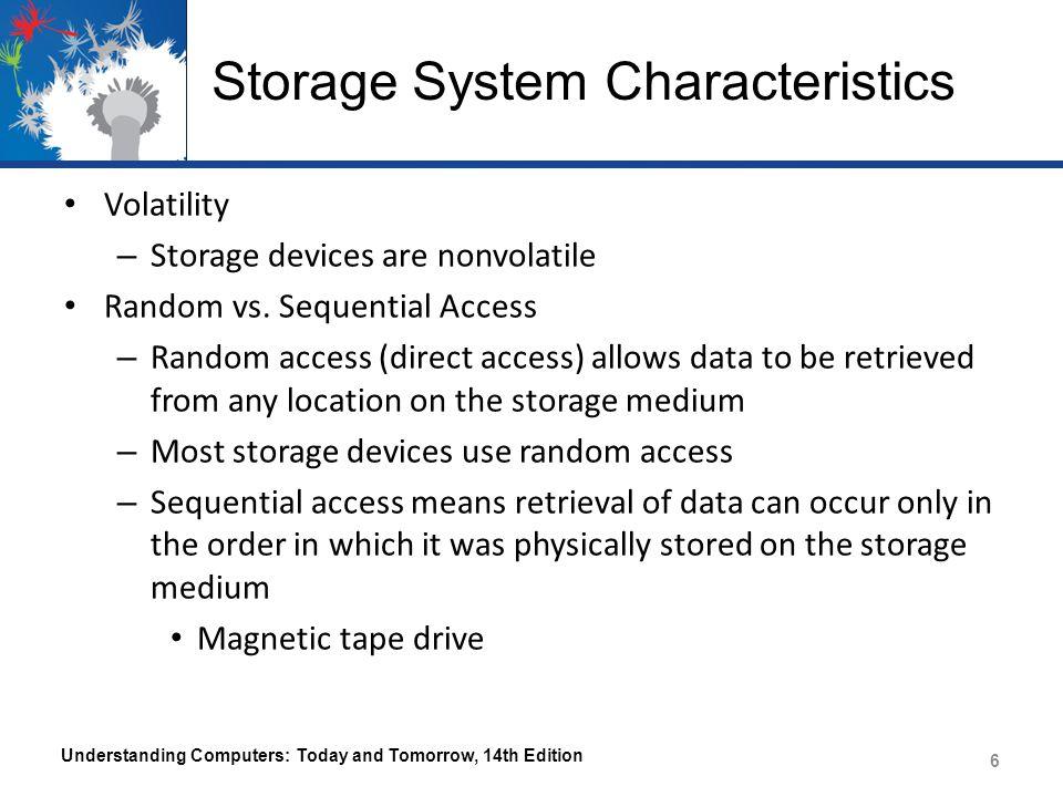 Storage System Characteristics Volatility – Storage devices are nonvolatile Random vs.