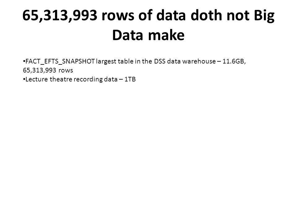 65,313,993 rows of data doth not Big Data make FACT_EFTS_SNAPSHOT largest table in the DSS data warehouse – 11.6GB, 65,313,993 rows Lecture theatre recording data – 1TB