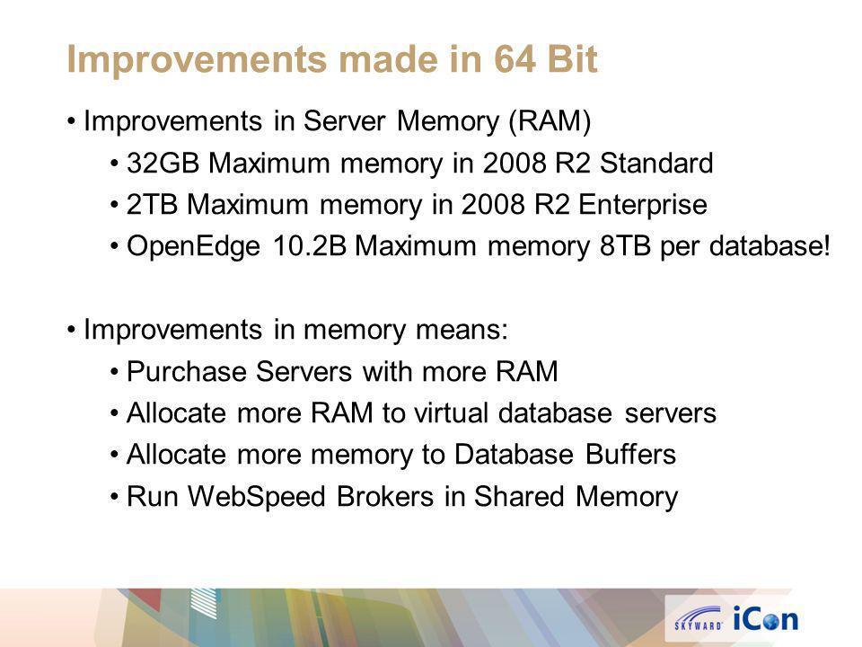 Improvements in Server Memory (RAM) 32GB Maximum memory in 2008 R2 Standard 2TB Maximum memory in 2008 R2 Enterprise OpenEdge 10.2B Maximum memory 8TB