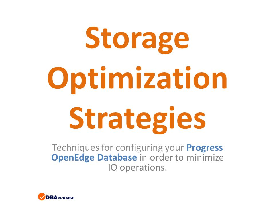 Storage Optimization Strategies Techniques for configuring your Progress OpenEdge Database in order to minimize IO operations.