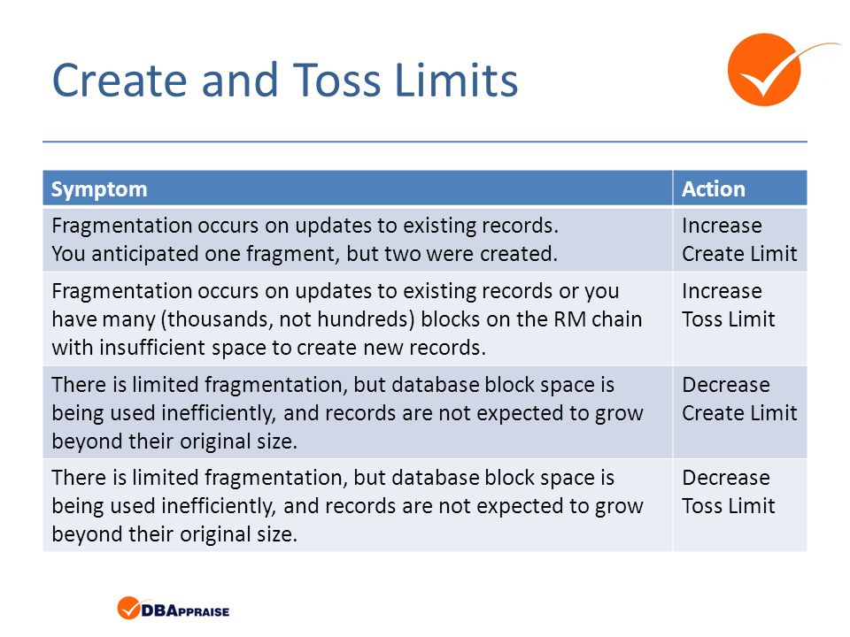 Create and Toss Limits SymptomAction Fragmentation occurs on updates to existing records.