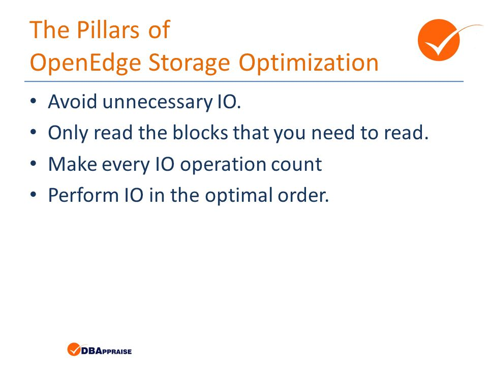 The Pillars of OpenEdge Storage Optimization Avoid unnecessary IO.