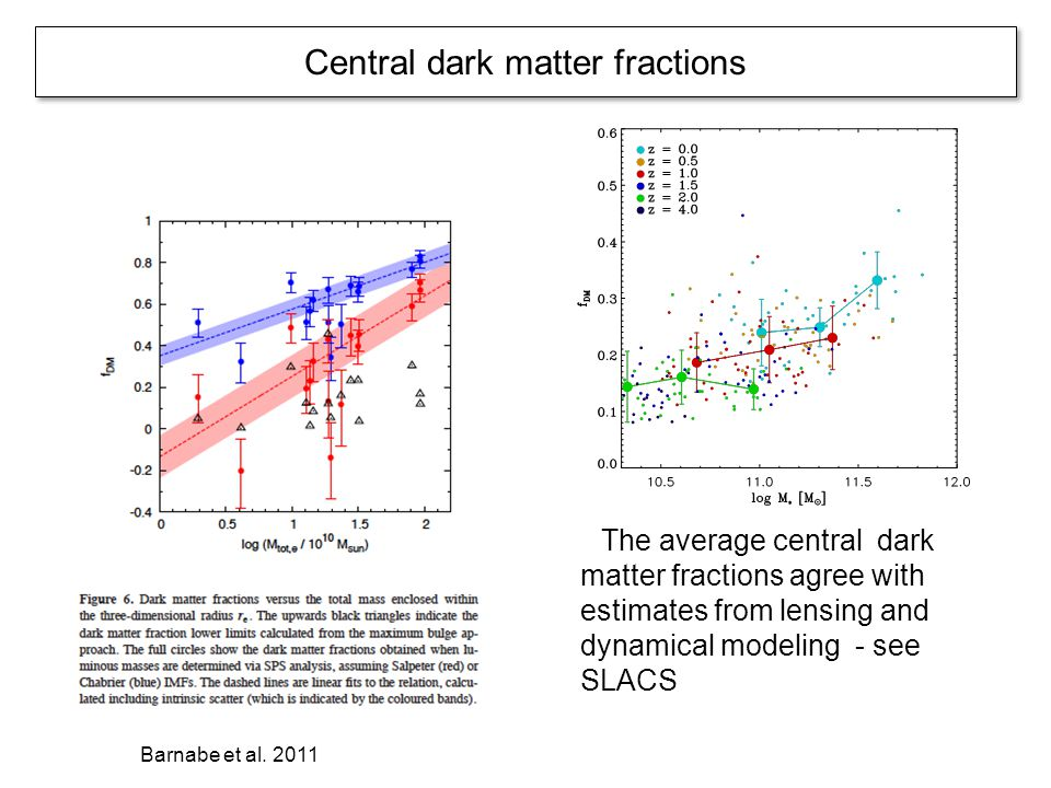 Central dark matter fractions The average central dark matter fractions agree with estimates from lensing and dynamical modeling - see SLACS Barnabe e