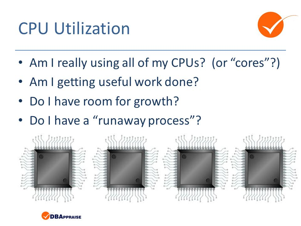 CPU Utilization Am I really using all of my CPUs. (or cores ) Am I getting useful work done.