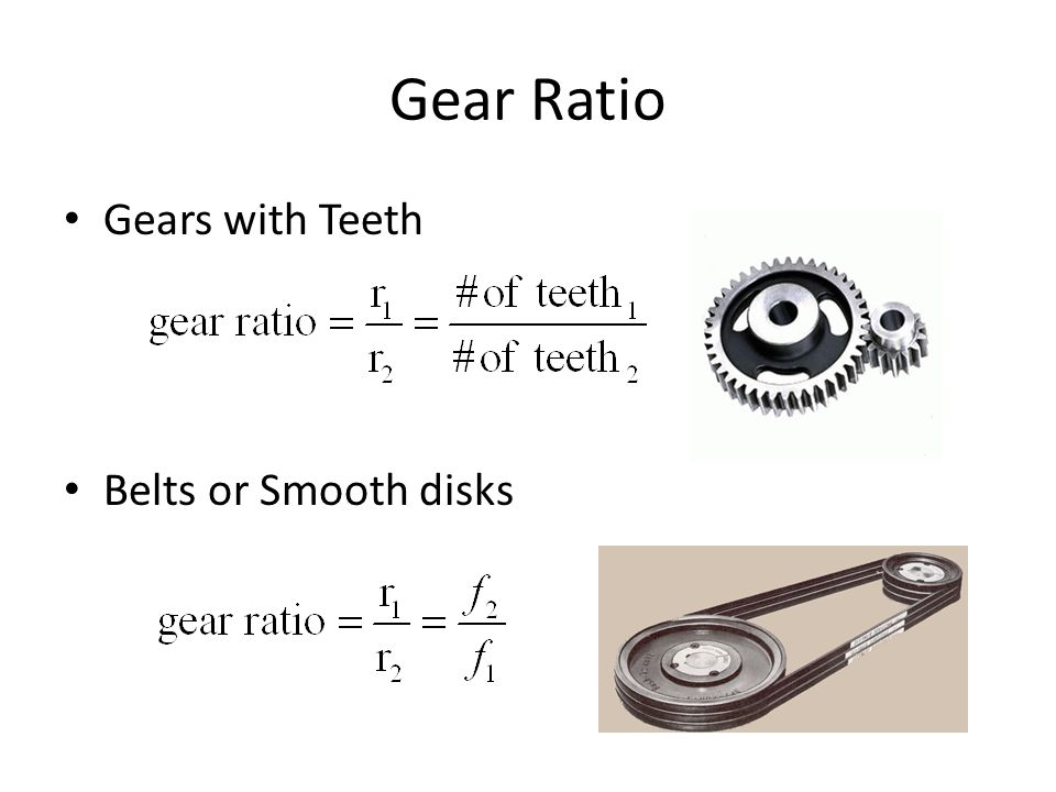 Gear Ratio Gears with Teeth Belts or Smooth disks