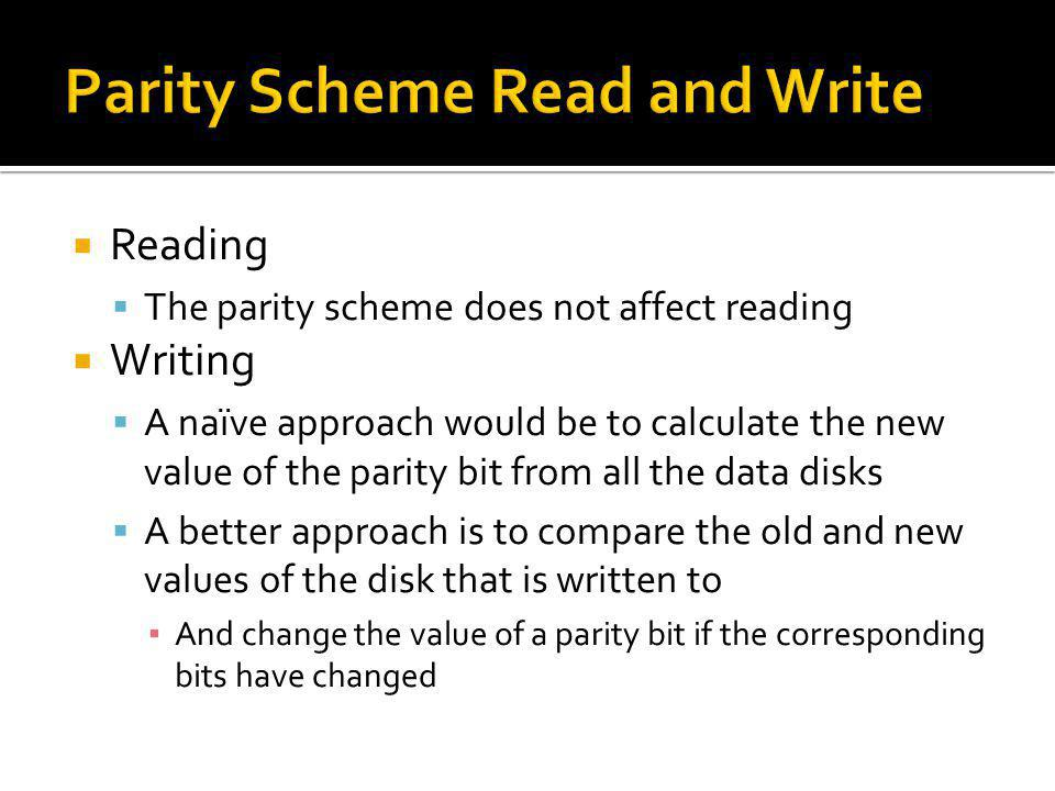 Reading The parity scheme does not affect reading Writing A naïve approach would be to calculate the new value of the parity bit from all the data dis