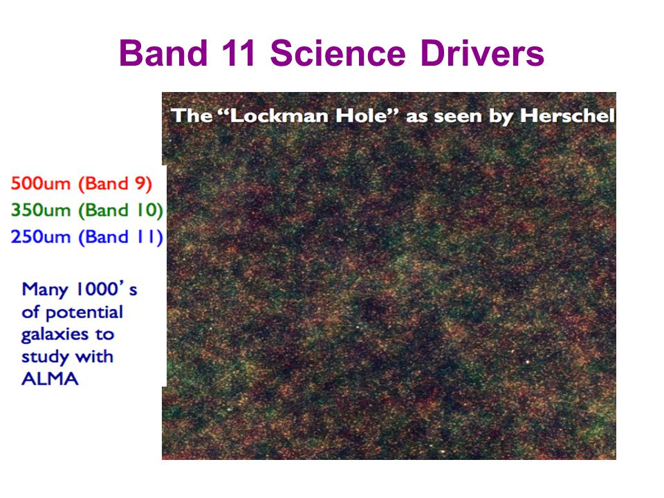 Band 11 Science Drivers Studies of the continuum at 200-300 microns @ z 3-5 (essesntial for constraining AGN)