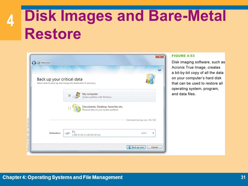 4 Disk Images and Bare-Metal Restore Chapter 4: Operating Systems and File Management31