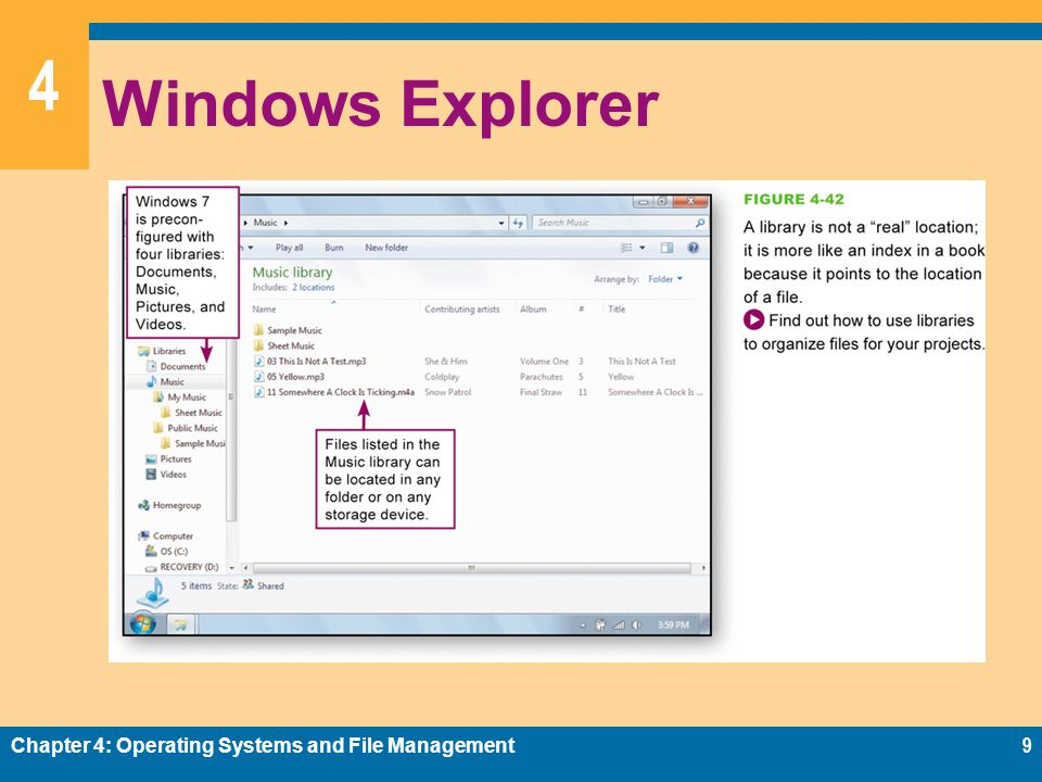 4 Windows Explorer Chapter 4: Operating Systems and File Management9
