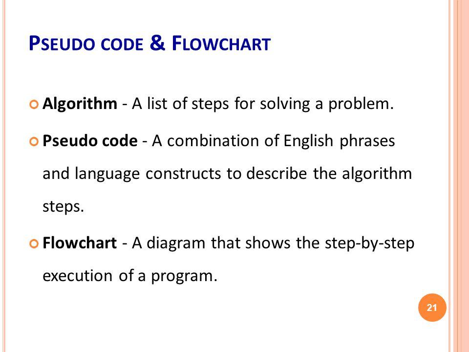 P SEUDO CODE & F LOWCHART Algorithm - A list of steps for solving a problem.