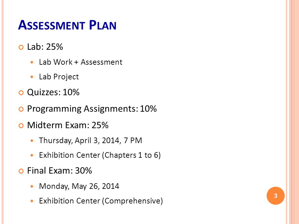 A SSESSMENT P LAN Lab: 25% Lab Work + Assessment Lab Project Quizzes: 10% Programming Assignments: 10% Midterm Exam: 25% Thursday, April 3, 2014, 7 PM Exhibition Center (Chapters 1 to 6) Final Exam: 30% Monday, May 26, 2014 Exhibition Center (Comprehensive) 3