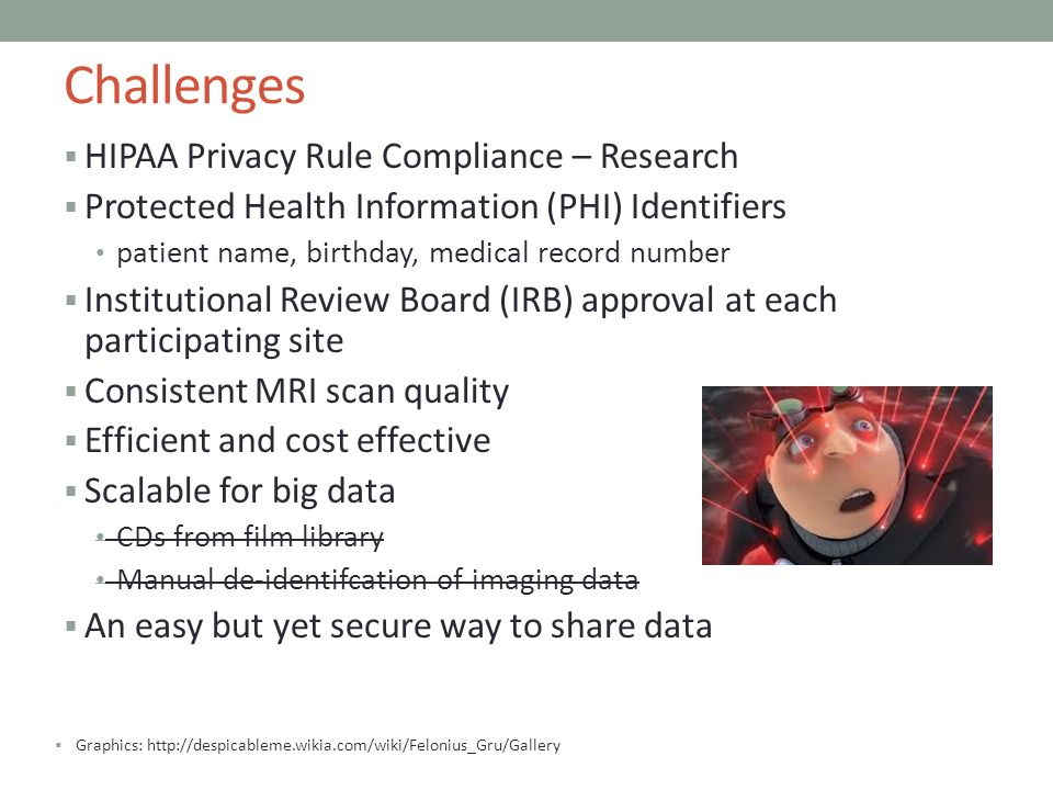 Challenges HIPAA Privacy Rule Compliance – Research Protected Health Information (PHI) Identifiers patient name, birthday, medical record number Insti
