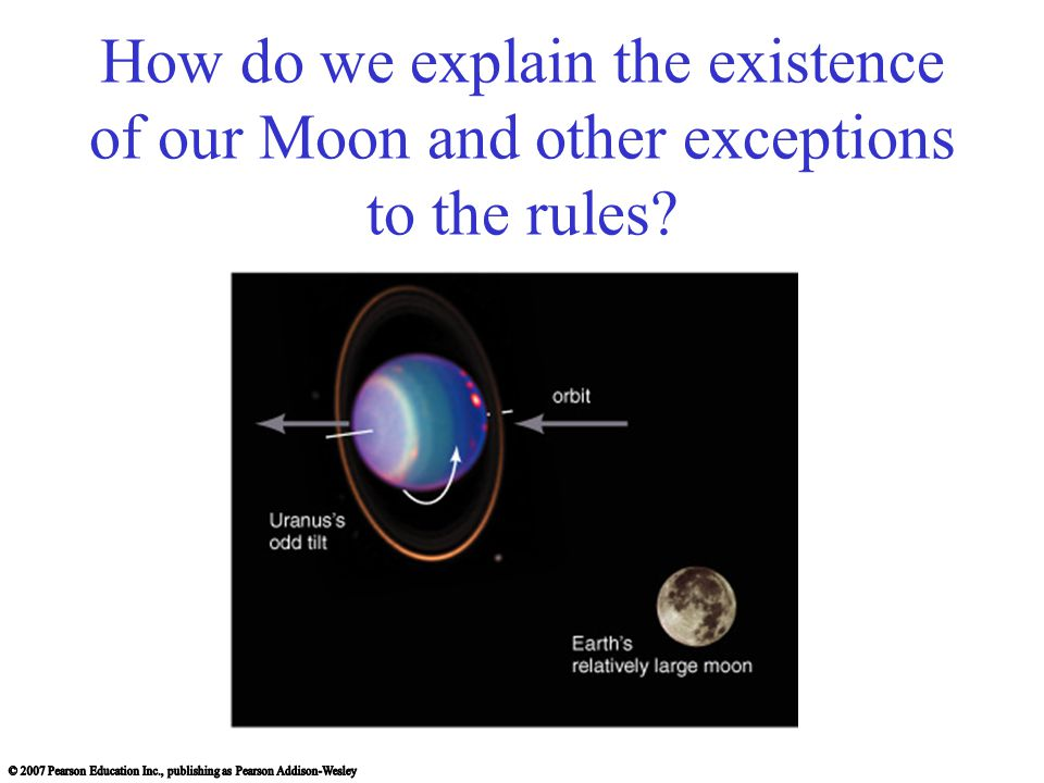 How do we explain the existence of our Moon and other exceptions to the rules?