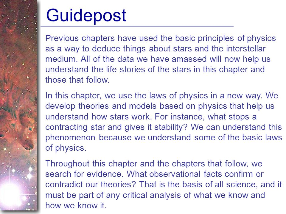 Previous chapters have used the basic principles of physics as a way to deduce things about stars and the interstellar medium.