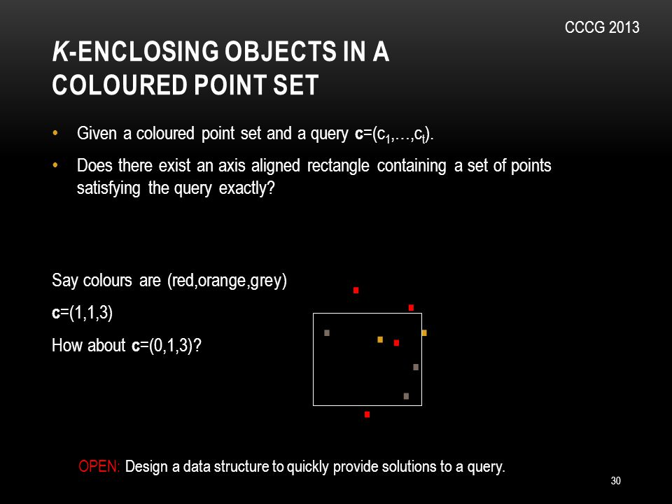 K -ENCLOSING OBJECTS IN A COLOURED POINT SET 30 Given a coloured point set and a query c =(c 1,…,c t ).