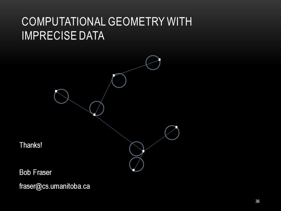 COMPUTATIONAL GEOMETRY WITH IMPRECISE DATA Thanks! Bob Fraser fraser@cs.umanitoba.ca....... 36