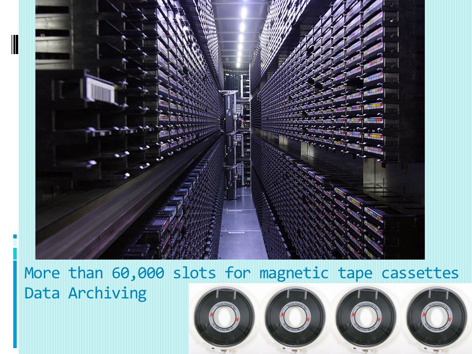 More than 60,000 slots for magnetic tape cassettes Data Archiving