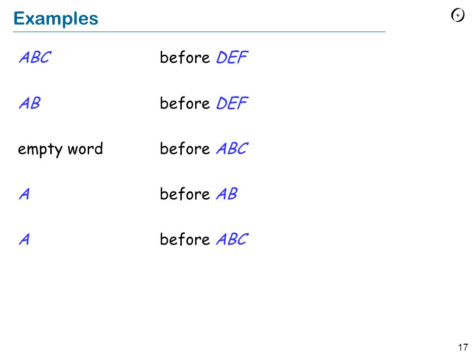 17 Examples ABC before DEF ABbefore DEF empty wordbefore ABC A before AB Abefore ABC