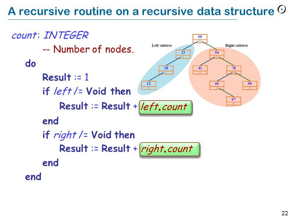 22 A recursive routine on a recursive data structure count : INTEGER -- Number of nodes.