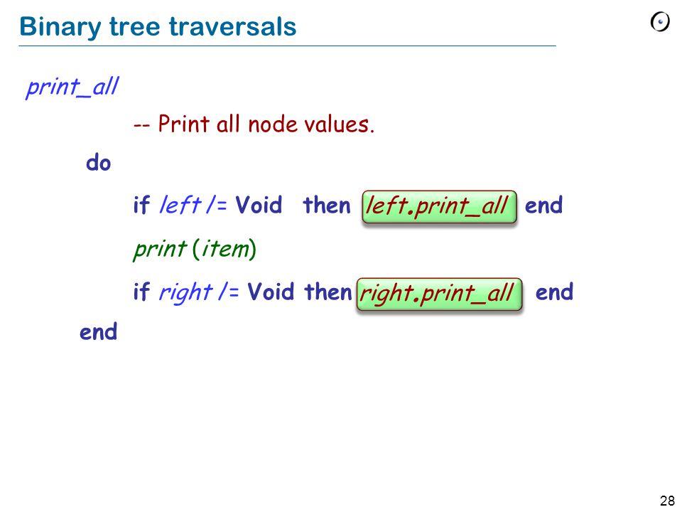 28 Binary tree traversals print_all -- Print all node values.