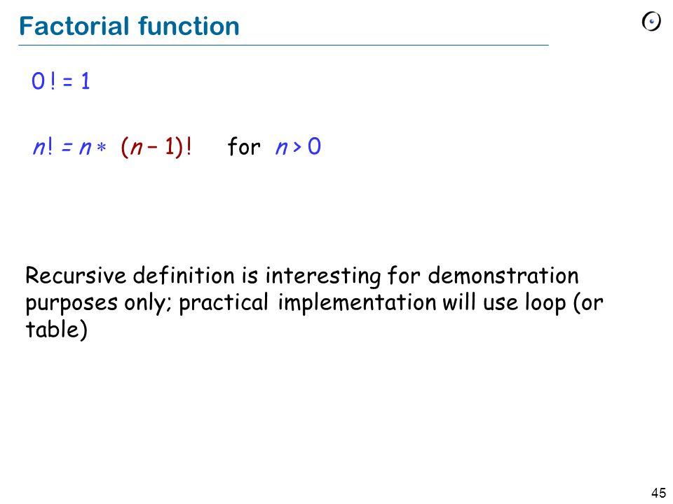 45 Factorial function 0 . = 1 n . = n (n 1) .