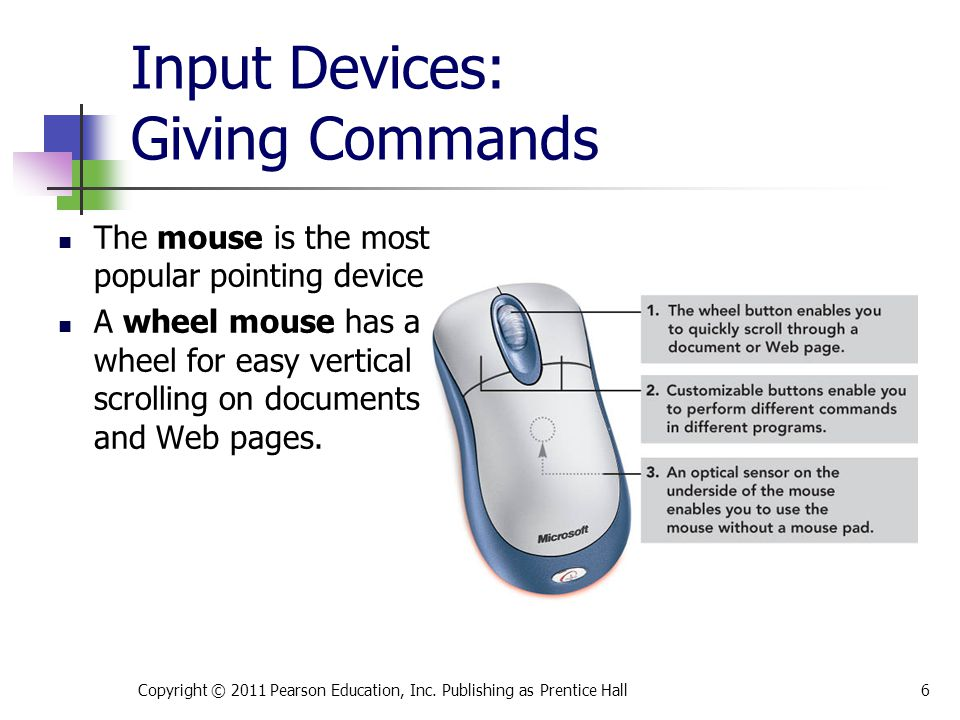 Input Devices: Giving Commands The mouse is the most popular pointing device.