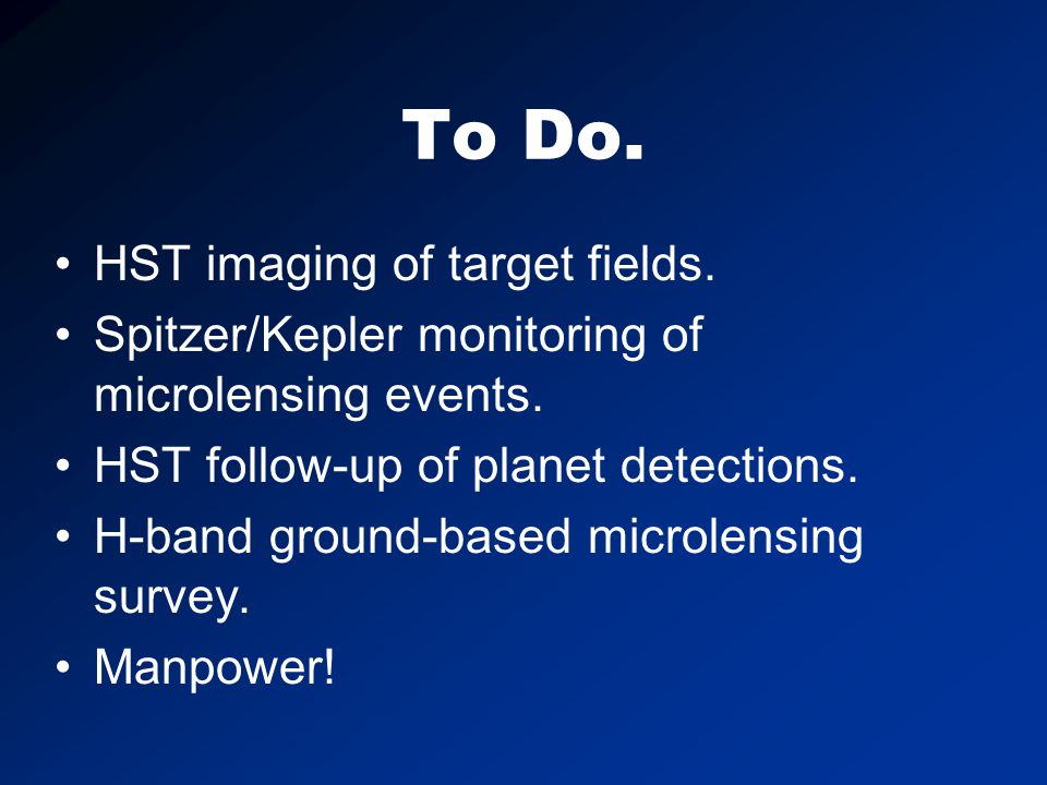 To Do. HST imaging of target fields. Spitzer/Kepler monitoring of microlensing events.