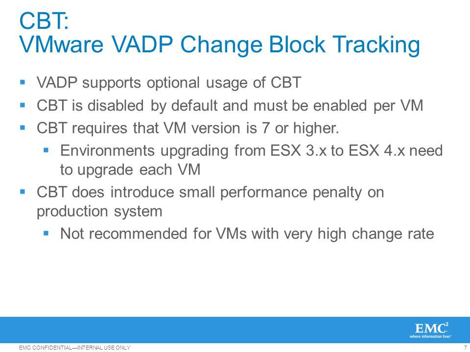 8EMC CONFIDENTIALINTERNAL USE ONLY EMC BRS Solutions for VMware NetWorker Avamar DataDomain