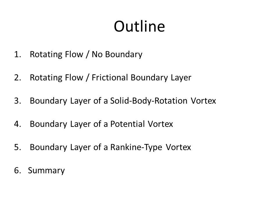 Outline 1.Rotating Flow / No Boundary 2.Rotating Flow / Frictional Boundary Layer 3.Boundary Layer of a Solid-Body-Rotation Vortex 4.Boundary Layer of