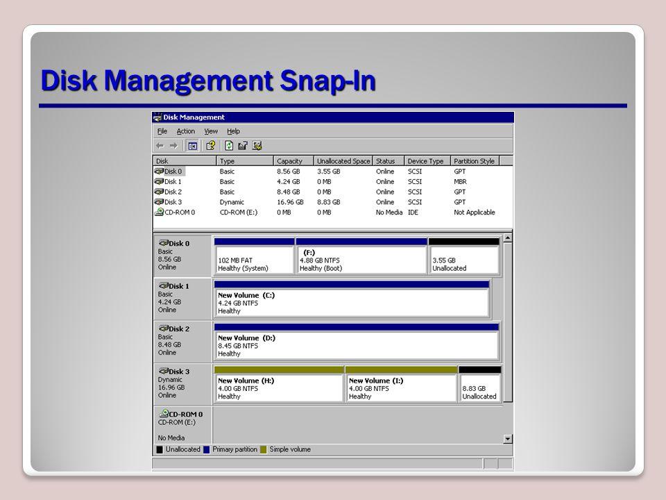 Disk Management Snap-In