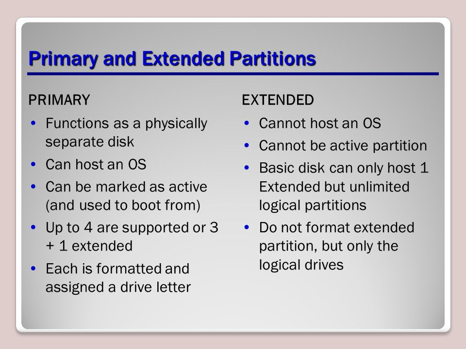 Primary and Extended Partitions PRIMARY Functions as a physically separate disk Can host an OS Can be marked as active (and used to boot from) Up to 4 are supported or 3 + 1 extended Each is formatted and assigned a drive letter EXTENDED Cannot host an OS Cannot be active partition Basic disk can only host 1 Extended but unlimited logical partitions Do not format extended partition, but only the logical drives