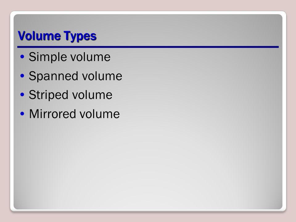 Volume Types Simple volume Spanned volume Striped volume Mirrored volume