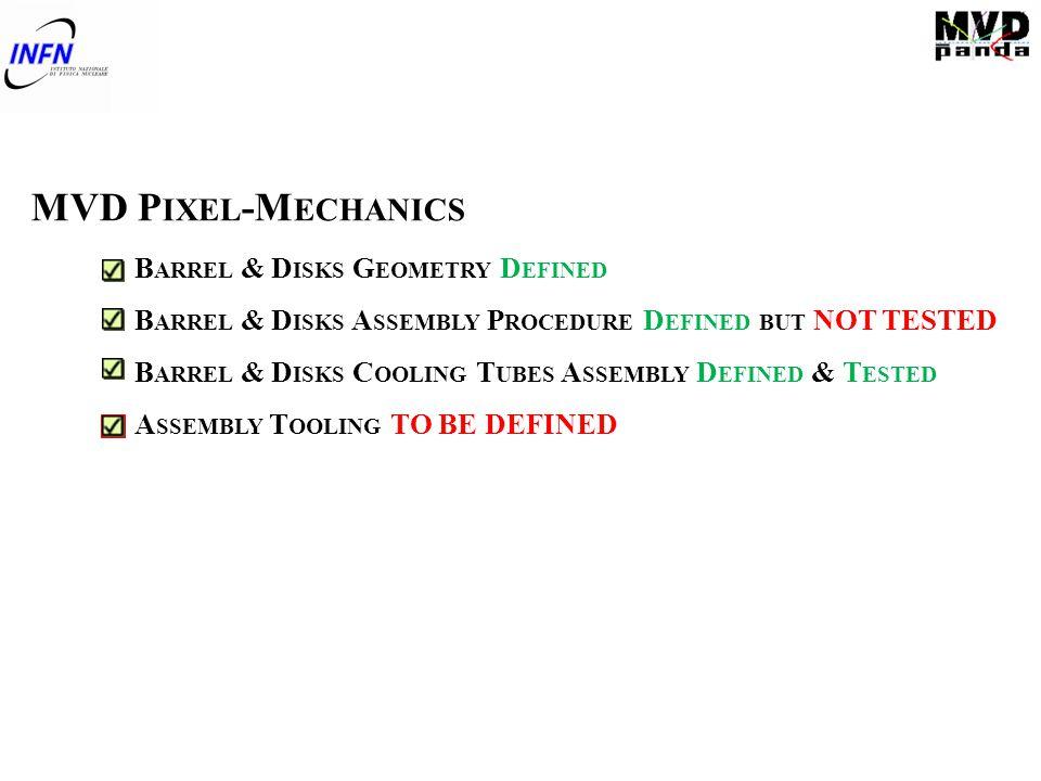 MVD P IXEL -M ECHANICS B ARREL & D ISKS G EOMETRY D EFINED B ARREL & D ISKS A SSEMBLY P ROCEDURE D EFINED BUT NOT TESTED B ARREL & D ISKS C OOLING T U