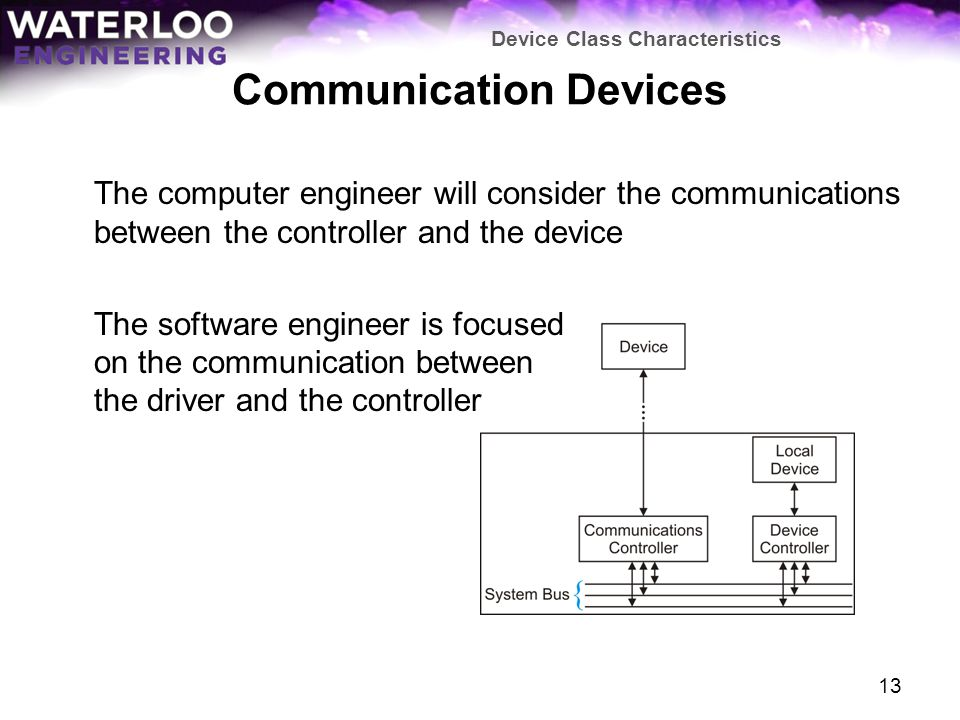 Communication Devices The computer engineer will consider the communications between the controller and the device The software engineer is focused on the communication between the driver and the controller Device Class Characteristics 13