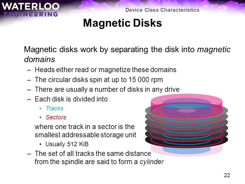 Magnetic Disks Magnetic disks work by separating the disk into magnetic domains –Heads either read or magnetize these domains –The circular disks spin at up to 15 000 rpm –There are usually a number of disks in any drive –Each disk is divided into Tracks Sectors where one track in a sector is the smallest addressable storage unit Usually 512 KiB –The set of all tracks the same distance from the spindle are said to form a cylinder Device Class Characteristics 22