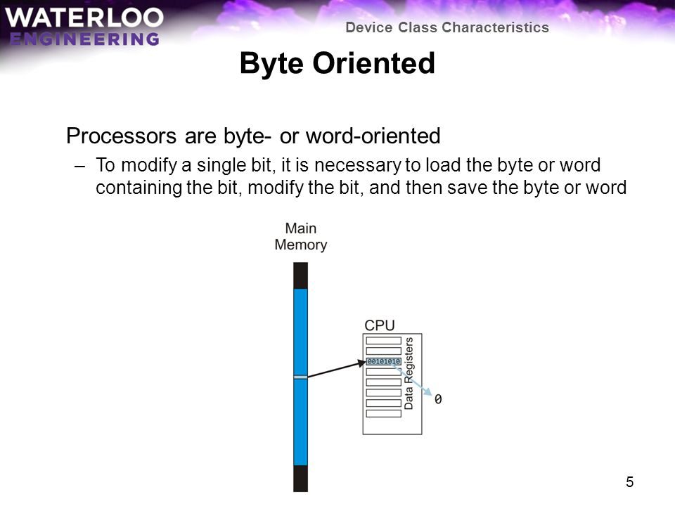 Byte Oriented Processors are byte- or word-oriented –To modify a single bit, it is necessary to load the byte or word containing the bit, modify the bit, and then save the byte or word Device Class Characteristics 5