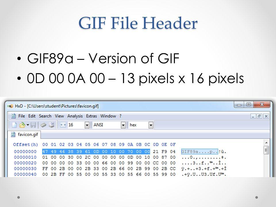 GIF File Header GIF89a – Version of GIF 0D 00 0A 00 – 13 pixels x 16 pixels
