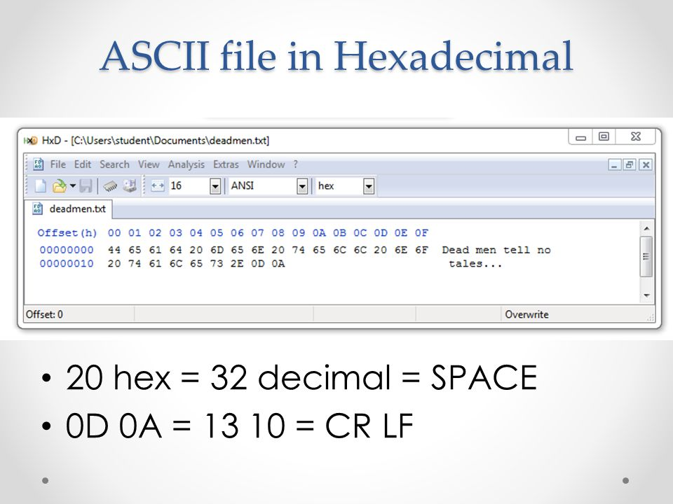 ASCII file in Hexadecimal 20 hex = 32 decimal = SPACE 0D 0A = 13 10 = CR LF