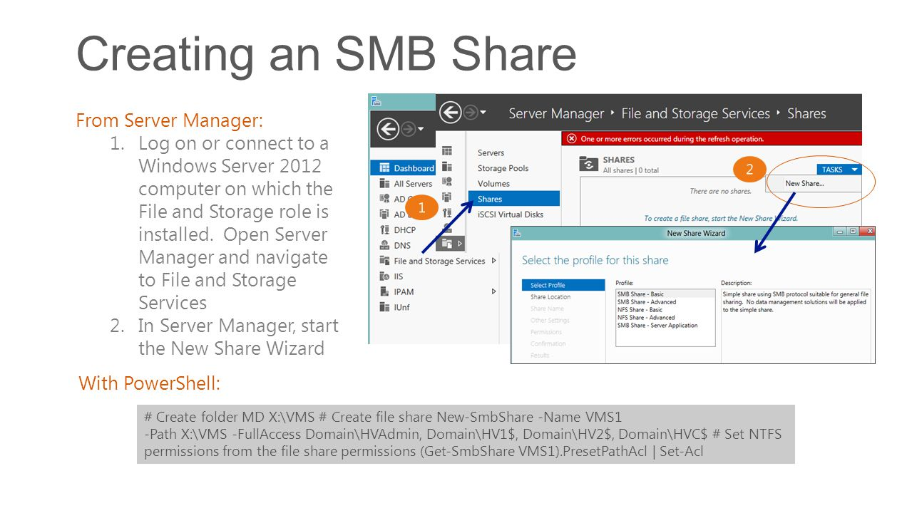 Creating an SMB Share From Server Manager: 1.Log on or connect to a Windows Server 2012 computer on which the File and Storage role is installed. Open