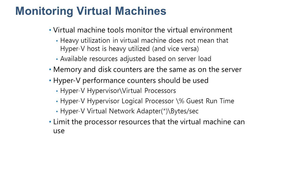 Monitoring Virtual Machines Virtual machine tools monitor the virtual environment Heavy utilization in virtual machine does not mean that Hyper-V host
