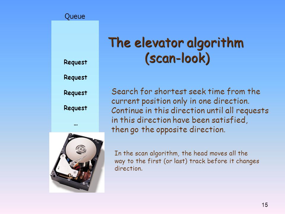 15 Queue Request … The elevator algorithm (scan-look) Search for shortest seek time from the current position only in one direction. Continue in this