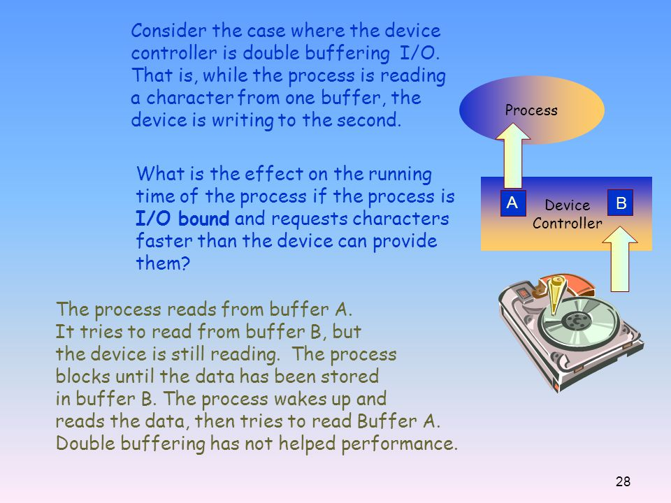 28 Consider the case where the device controller is double buffering I/O. That is, while the process is reading a character from one buffer, the devic