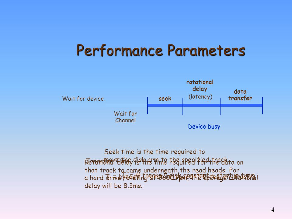 4 Performance Parameters Wait for device Wait for Channel Device busy seek rotational delay data transfer Seek time is the time required to move the d