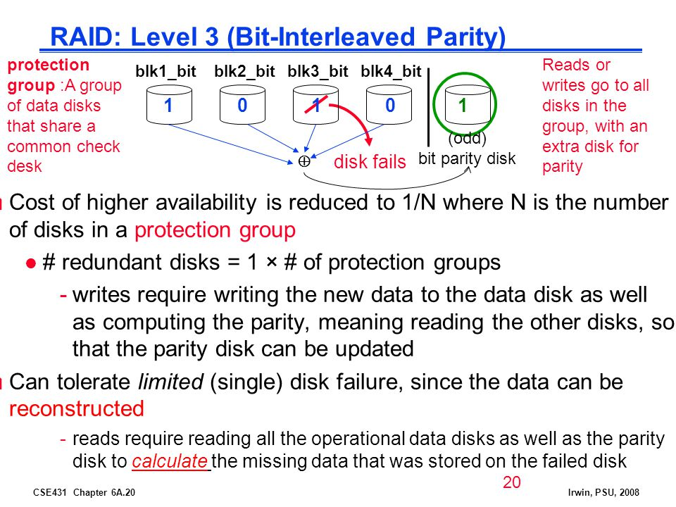 CSE431 Chapter 6A.20Irwin, PSU, 2008 RAID: Level 3 (Bit-Interleaved Parity) Cost of higher availability is reduced to 1/N where N is the number of disks in a protection group l # redundant disks = 1 × # of protection groups -writes require writing the new data to the data disk as well as computing the parity, meaning reading the other disks, so that the parity disk can be updated Can tolerate limited (single) disk failure, since the data can be reconstructed -reads require reading all the operational data disks as well as the parity disk to calculate the missing data that was stored on the failed disk blk1_bitblk3_bitblk2_bitblk4_bit 1 disk fails (odd) bit parity disk 1001 protection group :A group of data disks that share a common check desk Reads or writes go to all disks in the group, with an extra disk for parity 20