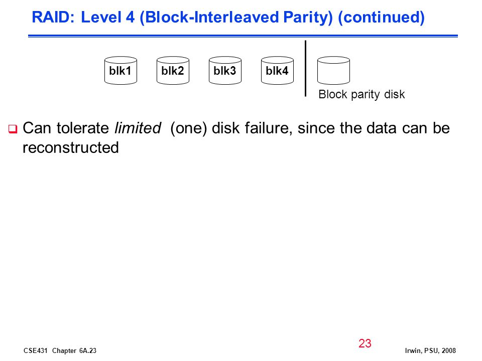 CSE431 Chapter 6A.23Irwin, PSU, 2008 RAID: Level 4 (Block-Interleaved Parity) (continued) Can tolerate limited (one) disk failure, since the data can be reconstructed Block parity disk blk1blk2blk3blk4 23