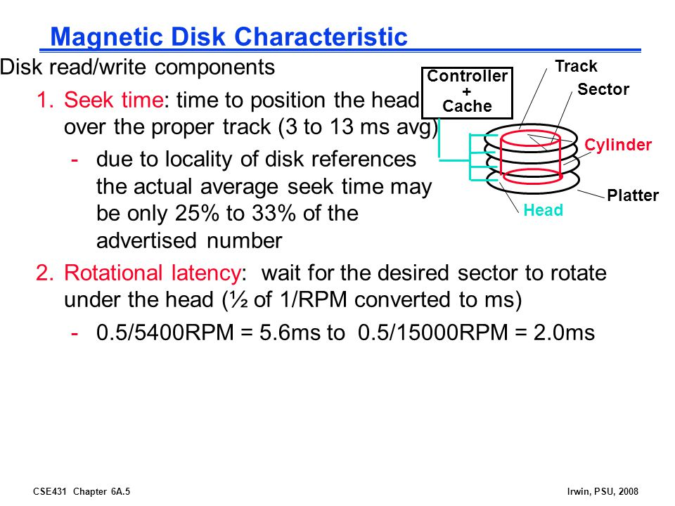 CSE431 Chapter 6A.5Irwin, PSU, 2008 Magnetic Disk Characteristic Disk read/write components 1.Seek time: time to position the head over the proper track (3 to 13 ms avg) -due to locality of disk references the actual average seek time may be only 25% to 33% of the advertised number 2.Rotational latency: wait for the desired sector to rotate under the head (½ of 1/RPM converted to ms) -0.5/5400RPM = 5.6ms to 0.5/15000RPM = 2.0ms Sector Track Cylinder Head Platter Controller + Cache