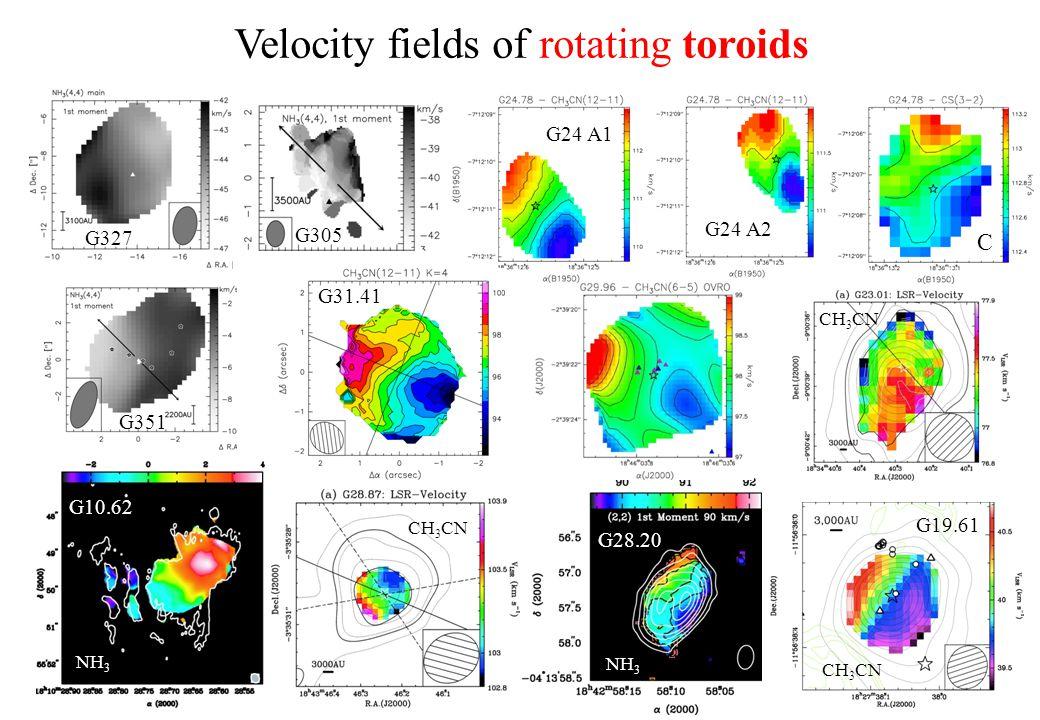 Velocity fields of rotating toroids C G24 A1 G24 A2 G31.41 G19.61 G10.62 G327 G351 G305 G28.20 CH 3 CN NH 3