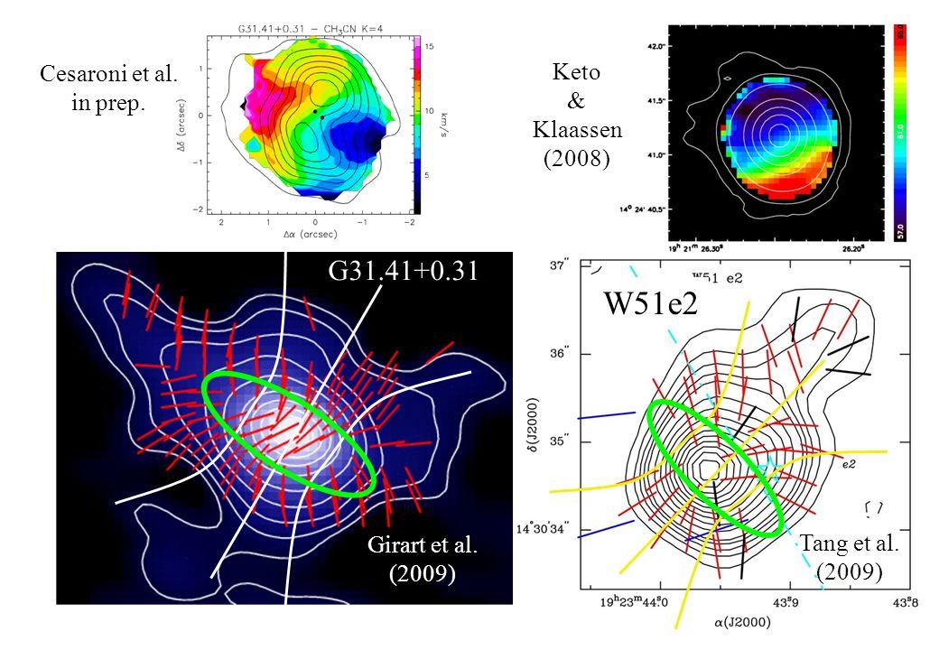 G31.41+0.31 Cesaroni et al. in prep. W51e2 Tang et al.
