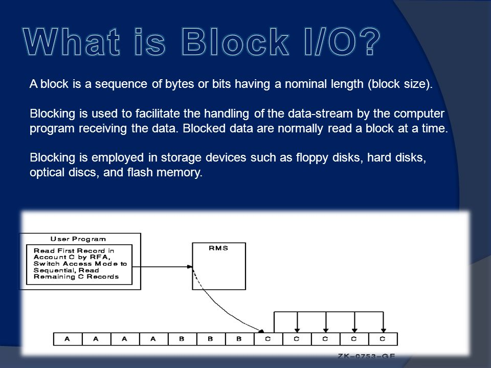 A block is a sequence of bytes or bits having a nominal length (block size).